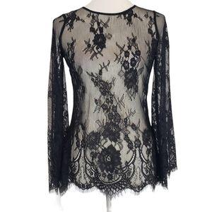 White House Black Market Black Sheer Lace Blouse